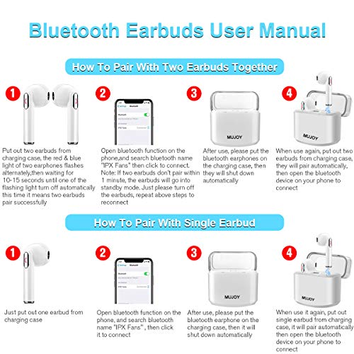 Wireless Earbuds with Charging Case,Bluetooth Earbuds with Mic for Running,Wireless Bluetooth Earphones with Microphone,Mini Sports Earbuds Compatible iOS Android Huawei Samsung Phones X 8 7 by MUJOY (Image #6)