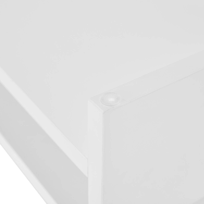 White Sunon Computer Monitor Stand Riser 2-Tier Wood Storage Organizer Desktop Small TV Stand Laptop Printer PC Monitor Stand