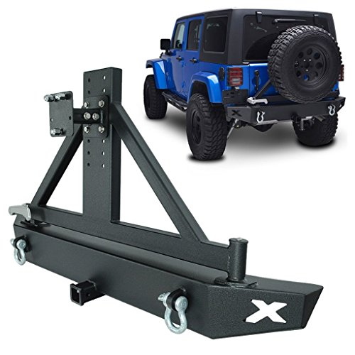 GSI-07-16-Jeep-Wrangler-JK-Heavy-Duty-Rock-Crawler-Rear-Bumper-with-Tire-Carrier-and-2-Hitch-Receiver-Textured