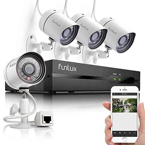 Funlux® 8CH 960H HDMI Surveillance DVR with 4 CCTV High Resolution Home Security Camera System - Day / Night - Indoor/ Outdoor - No Hard Drive - Scan QR Code to Remote Access - Free Mobile APP - Push Alerts on Cell Phone