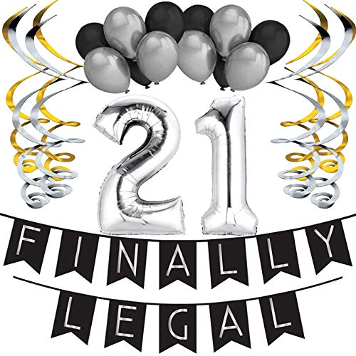 Sterling James Co. 21st Birthday Party Pack - Black & Silver Happy Birthday Bunting, Poms, and Swirls Pack- Birthday Decorations - 21st Birthday Party Supplies (Best Way To Celebrate 21st Birthday)