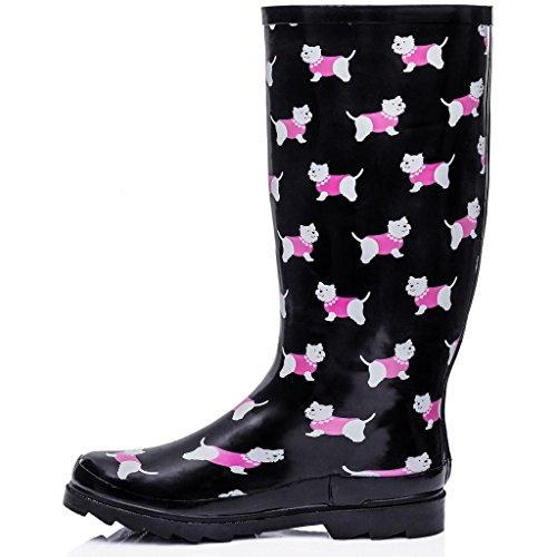 SPYLOVEBUY KARLIE Flat Festival Wellies Wellington Knee High Rain Boots Dog hlgHxD7