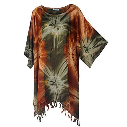 Tropicalsale Women's Lovely Brown Green Tie-Dye Kaftan Tunic Top Big Plus Size