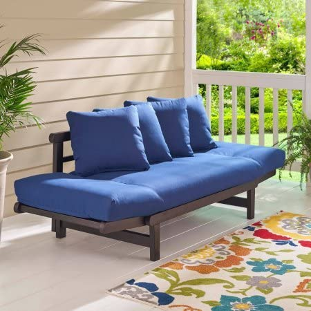 Outdoor Convertible Sofa Daybed Futon Deep Seating Adjustable Wood Patio Furniture