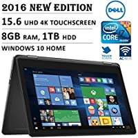 2016 DELL Inspiron i7568 Flagship High Performance 2-in-1 15.6 4K Ultra HD Touchscreen Convertible Laptop PC, Intel Core i7-6500U Processor, 8GB RAM, 1TB HDD, Backlit Keyboard, Windows 10