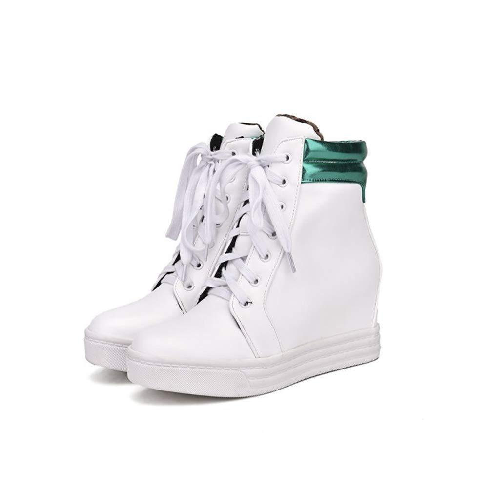 Green Hoxekle Women Platform Wedge Sneakers Lace Up shoes Woman Wedges White Ladies Casual Footwear