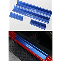 FMtoppeak One Set of 4 Pcs Aluminum Alloy Front & Rear Door Sill Protector Cover Scuff Plate Entry Guards for 2007-2016 Jeep Wrangler JK 4 Door (Blue)