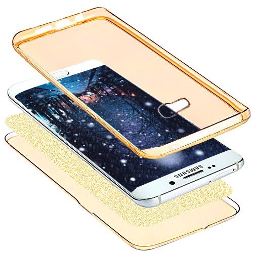 Funda Carcasa Protectora 360 Grados para Samsung Galaxy A3 2017,Ukayfe Full Body Funda de silicona TPU en Transparente Ultra Slim Case Protección Completa Doble Cover Smartphone Móvil Accesorio Sleeve Oro