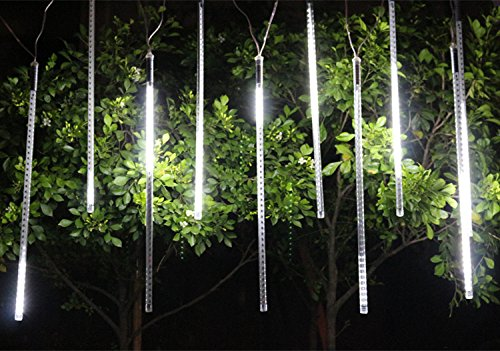 Alkbo White Color Meteor Shower Rain Lights Waterproof String for Wedding Party Christmas Xmas Decoration Tree Party Garden Xmas String Light Outdoor 10FT 8 Tube