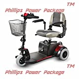 "Merits Health Products, Mini Coupe, 3-Wheel Super Micro Electric Scooter, 16.5""Wx15.5""D, Red - PHILLIPS POWER PACKAGE TM - TO $500 VALUE"