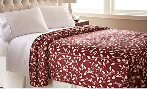 "Elegant Comfort The Best Ultra Super Soft Leaf Pattern Design Luxury Full/Queen Size Blanket, Burgundy/Ivory - Made from ultra-soft 100-Percent polyester for the ultimate in warmth and softness. 100% polyester flannel; 300 GSM Full/Queen size measures 86 by 96"" Easy care feature means that it's machine washable and dryable - blankets-throws, bedroom-sheets-comforters, bedroom - 51CfOPn%2BNYL -"