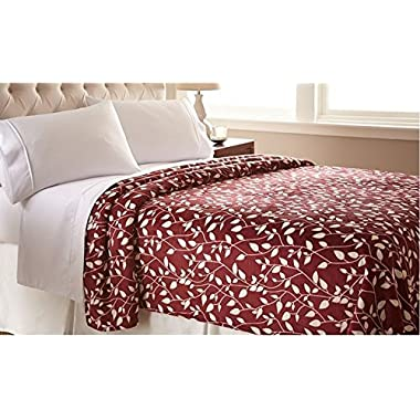 Elegant Comfort The Best Ultra Super Soft LEAF Pattern DESIGN Luxury Full/Queen Size Blanket, Burgundy/Ivory