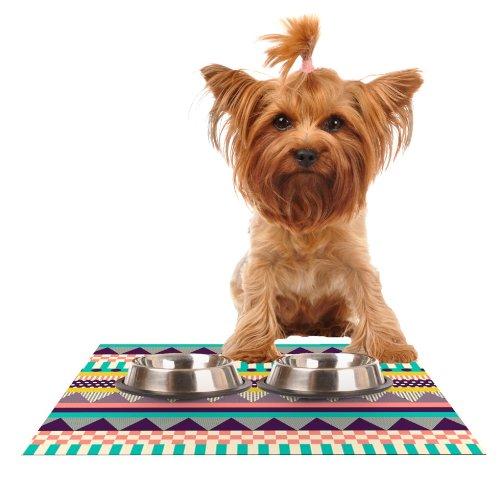 KESS InHouse Louise Machado Decorative Stripes Teal Pink Feeding Mat for Pet Bowl, 18 by 13-Inch