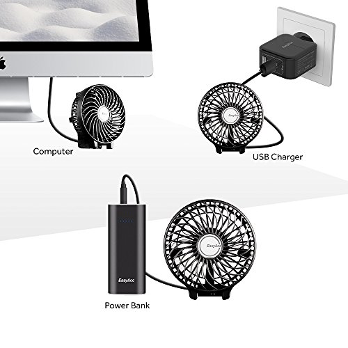 EasyAcc 2600mah Battery Handheld Fan Portable Battery Operated USB Fan Mini Personal Fan Outdoor Electric Fan with Rechargeable LG 2600mAh Battery Adjustable 3 Speeds Foldable Home and Travel -Black by EasyAcc (Image #8)