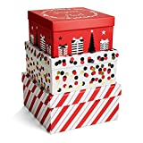 Set of 3 Luxe Square Holiday Boxes ( 6'' Small , 6.5'' Medium, 7.25'' Large)