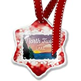 Christmas Ornament Lake retro design North Twin Lake, red - Neonblond