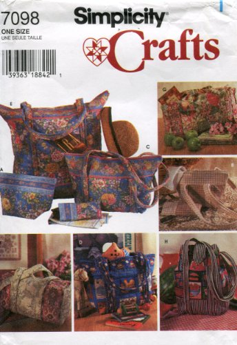 Simplicity Crafts Pattern 7098 Quilted Bags and Eyeglasses Case (Bag Patterns Quilted)