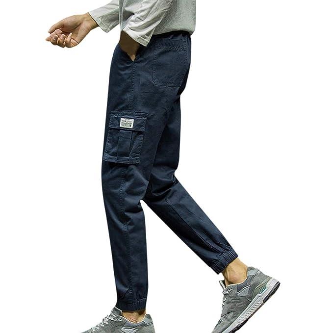 YanHoo Color sólido Bolsillo Deportivo Nueve Pantalones Pantalones ...