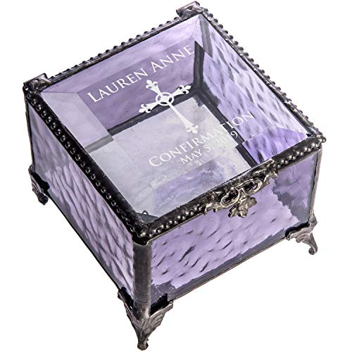 Victorian Purple Crystal - Confirmation Gift for Girl Personalized Keepsake Box Purple Stained Glass Engraved Cross Jewelry J Devlin Box 836 EB221