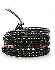 M&B Lavastone and Tiger Eye Prayer Bracelet and Protection Bracelet for Meditation and Healing