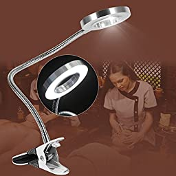 Eyebrow Tattooing Tattoo Manicure Shadowless Warm Light and Cold Light Beauty Manicure Salon Lamp with USB Clip (Cold Light)