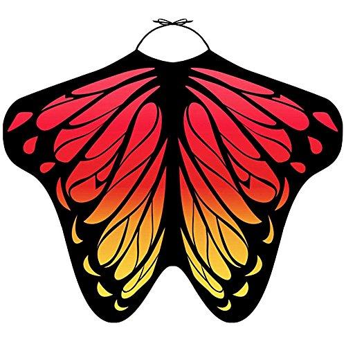 LIVEBOX Women's Swimwear Bikini Beach Cover Ups Butterfly Wings Shape Chiffon Sarong Pareo Scarf Swimsuit Shawl Wraps (Red yellow)