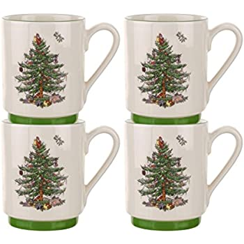 Amazon.com | Spode Christmas Tree Mug and Coaster Set, Set of 2 ...