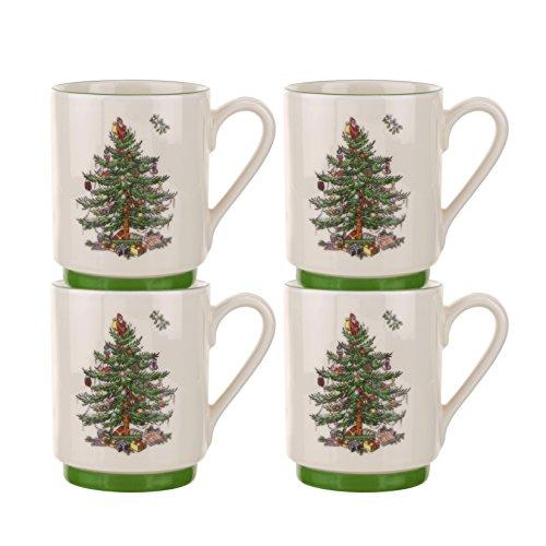 Spode Christmas Tree Stacking Mugs,Set of 4 4 Christmas Tree Mugs
