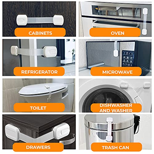 51CfQGBe8BS Child Proof Locks for Cabinet Doors (6 Pack + Gift) Safety Locks for Cabinets and Drawers - Baby Proof Cabinet Latches - Fridge Locks for Kids - Refrigerator Child Lock - Baby Proofing Cabinet Lock    Product Description