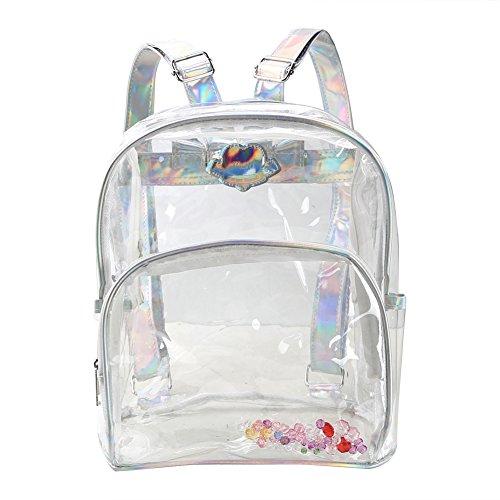 Zicac Girls' Transparent Laser Sequins Backpack Children School Satchel Shoulder Handbag (Silver)
