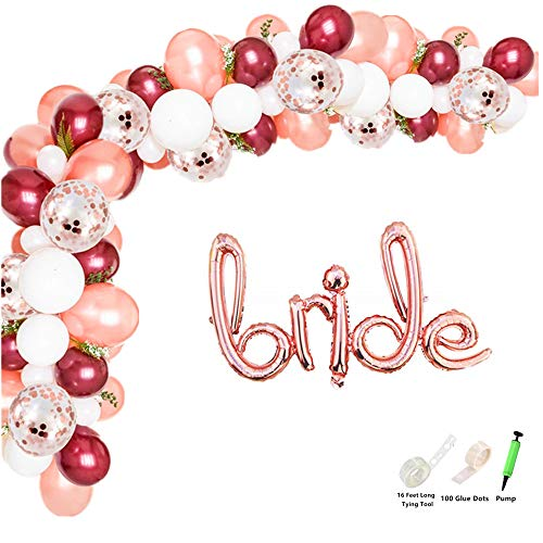 Rose&Wood 100 Pcs Balloon Garland Kit with Giant Foil Balloon-Bride Hand-Writing Style Balloon Arch Garland for Wedding Bridal Shower Bachelorette Party Photo -