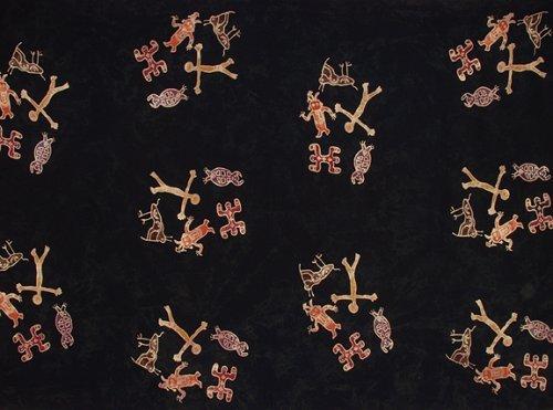 Batik Sarong - People Petroglyph, Heavy Rayon