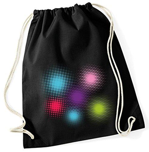 Jutebeutel Turnbeutel Sportbeutel Stofftasche Baumwolltasche Tasche Rucksack mit Kordel Cotton Gymsack Farbklekse (Motiv 50, schwarz)