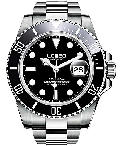 LOREO Mens GMT Silver Stainless Steel Sapphire Glass Black Rotating bezel Men's Automatic Watch