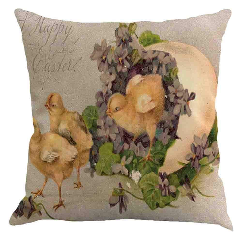 ❤Ywoow❤ Easter Pillow Cases Linen Sofa Cushion Cover Sofa Bed Home Decor Pillow Case A by ❤Ywoow❤ (Image #1)