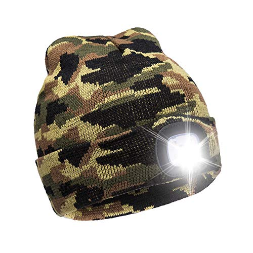 - Ultra Bright LED Unisex Lighted Beanie Cap/Winter Warm hat (USB charging) (Camouflage)