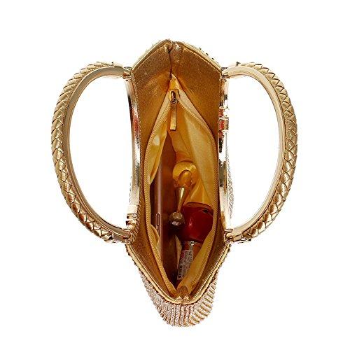 TuTu Sacs Or Sacs de Embrayage Diamants de Main Doux à Chaîne Femmes Strass Sacs Mariage Soirée Soirée Épaule Argent gold qr1qZg0w