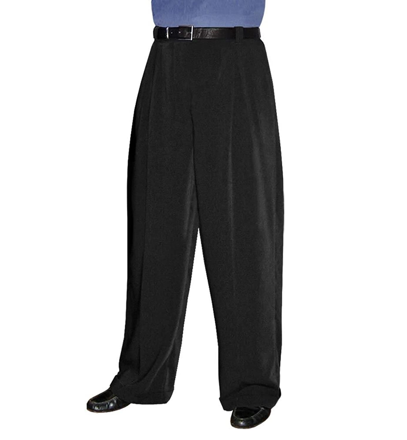 Men's Black Wide Leg Pleated Trousers at Amazon Men's Clothing ...