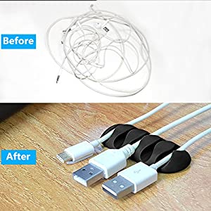 TedGem 10 Pack Cable Organizer - Multipurpose Cable Clips Wire Clips Cord Organize Desktop Cable Organizer Cord Management for Computer- Electrical, Charging or Mouse Cords