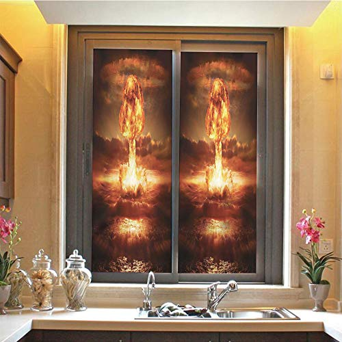 Country 3D No Glue Static Decorative Privacy Window Films, Bomb in The Ocean Fusion Radioactive Weapon Apocalypse Illustration Print Decorative,17.7