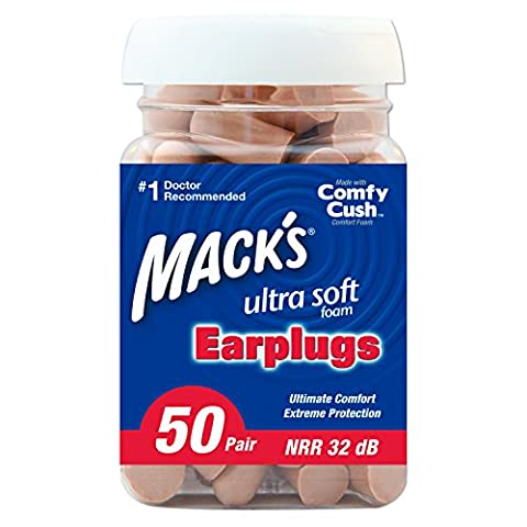 Mack's Ultra Soft Foam Earplugs, 50 Pair - 32dB Highest NRR, Comfortable Ear Plugs for Sleeping, Snoring, Work, Travel and Loud - Soft Foam Top