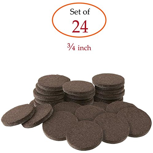 Self-Stick Brown Round Felt Pads 24-Piece Value Pack for Fur