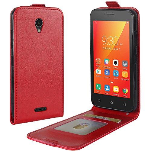 OFU® Para Lenovo A Plus A1010 Funda,PU Hybrid Card Carry Pocket Wallet Slot,Cartera Cuero Funda de Piel Wallet Case para Lenovo A Plus A1010 Carcasa Flip Case Cover(marrón) rojo