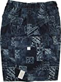 Boy's Shorts - Hawaiian Paradise Legends Elastic Waistband Inside Drawcord Cotton Flap Pocket Shorts in Navy Blue - 12