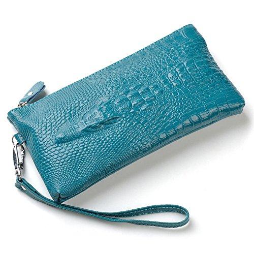 Summer Clearance Sale Day 2016 easygogoWomen's Genuine Leather Wallet Zippered Clutch Card Bag Alligator Grain Lady Handbag Purse Best Friends Gifts for Women best Gifts Ideas (Navy Blue)