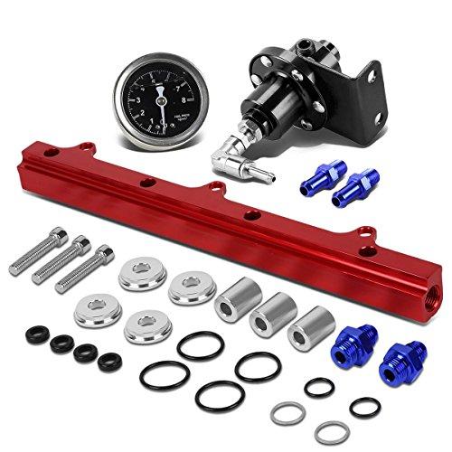 op Feed Fuel Injector Rail Kit (Black)+Fuel Pressure Regulator (Red) ()