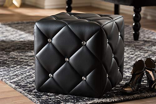 Baxton Studio Upholstered Ottoman in Black