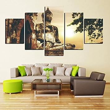 Amazon.de: Leinwandbilder Poster moderne Bilder Wohnzimmer 5 Panel ...
