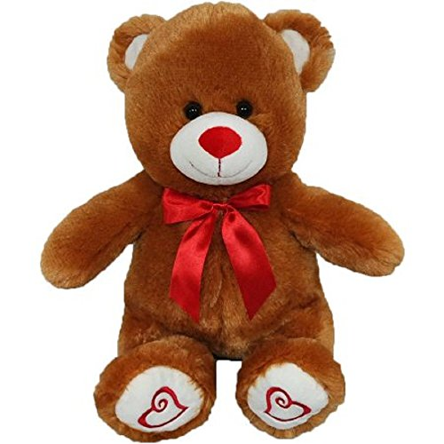 Teddy Bear Huggable Plush and Soft Brown with Red Hearts on Footpads and Red Satin (Hearts Satin Ribbon)