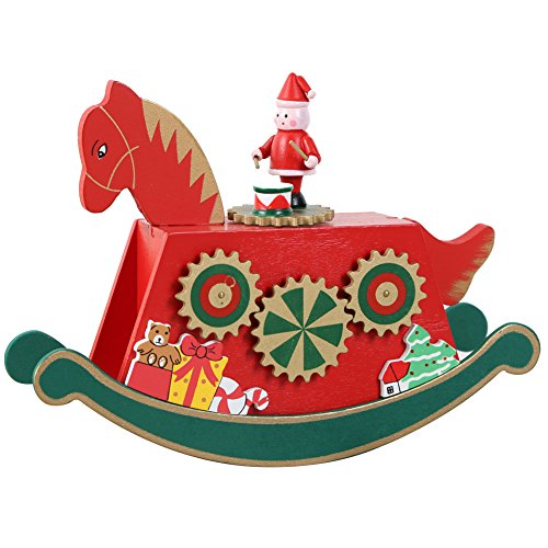 - Wooden Rocking Horse Music Box for Birthday Gifts